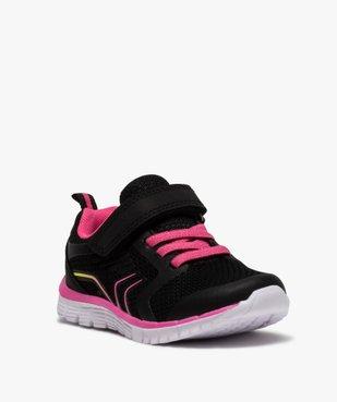 Baskets fille bicolores à lacets élastiques et scratch vue2 - Nikesneakers (ENFANT) - Nikesneakers