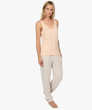 Haut de pyjama femme à col dentelle avec coton bio vue3 - GEMO C4G FEMME - GEMO