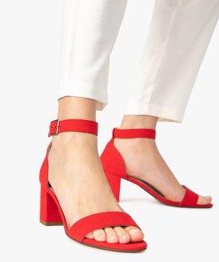 Sandales femme à talon large et bride cheville dessus suédine vue1 - GEMO(URBAIN) - GEMO