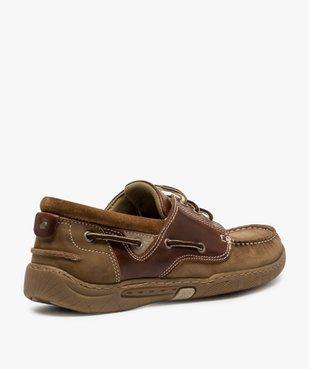 Chaussures bateau homme à lacets dessus cuir vue4 - GEMO (CONFORT) - GEMO
