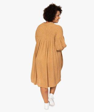 Robe femme imprimée à smocks et manches 3/4 vue3 - GEMO (G TAILLE) - GEMO