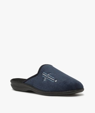 Chaussons homme mules confort en velours ras brodé vue2 - Nikesneakers(HOMWR HOM) - Nikesneakers