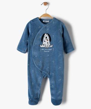 Pyjama bébé garçon en velours avec motifs animal vue1 - GEMO(BB COUCHE) - GEMO