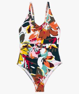 Maillot de bain femme une pièce multicolore avec ceinture vue4 - GEMO (PLAGE) - GEMO
