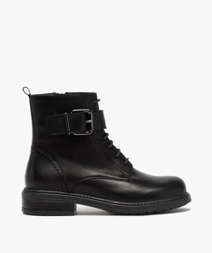 Boots fille zippées à lacets et bride décorative dessus cuir uni vue1 - GEMO (ENFANT) - GEMO