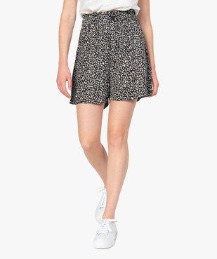 Short femme imprimé avec taille haute élastiquée  vue1 - GEMO(FEMME PAP) - GEMO