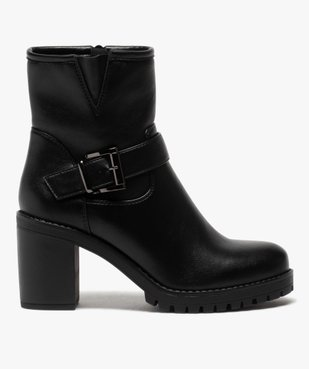 Boots femme unis à semelle crantée et bride fantaisie vue1 - GEMO(URBAIN) - GEMO