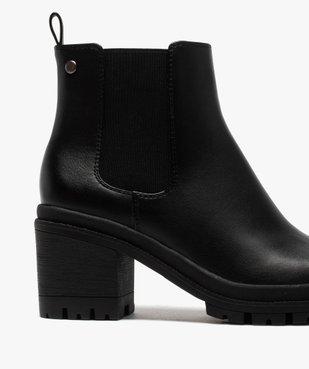 Boots femme unis à talon carré et semelle crantée vue6 - GEMO(URBAIN) - GEMO