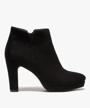 Low-boots femme à talon dessus en suédine unie vue1 - GEMO(URBAIN) - GEMO