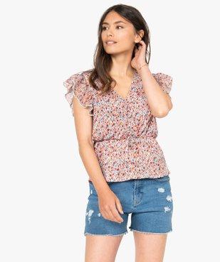 Tee-shirt femme cintré à décolleté cache-cœur vue1 - GEMO(FEMME PAP) - GEMO