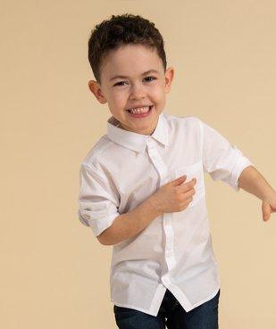 Chemise garçon unie à manches longues vue1 - GEMO (ENFANT) - GEMO