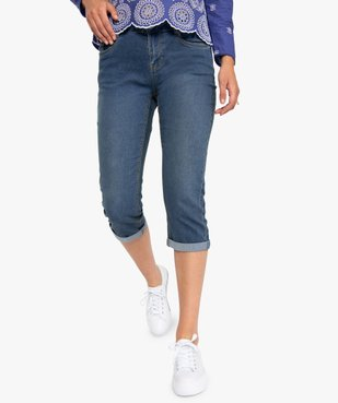 Pantacourt femme en jean extensible vue1 - GEMO C4G FEMME - GEMO