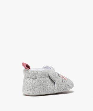 Chaussons de naissance bébé fille en velours motif chat vue2 - GEMO(BB COUCHE) - GEMO