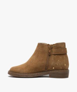 Boots fille style chelsea dessus cuir retourné motif étoiles vue3 - GEMO (ENFANT) - GEMO