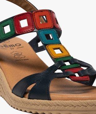 Sandales femme à talon compensé et brides en cuir colorées vue6 - GEMO(URBAIN) - GEMO