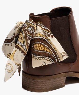 Boots femme style chelsea à talon plat et nœud foulard vue6 - GEMO (CASUAL) - GEMO