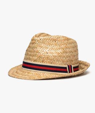 Chapeau homme en paille avec bande tricolore vue1 - GEMO (ACCESS) - GEMO