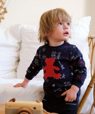 Sweat bébé avec inscription et ourson brodé – Lulu Castagnette vue1 - LULUCASTAGNETTE - Nikesneakers