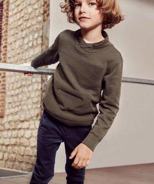 Pull garçon en maille fine avec col châle et poche zippée vue6 - GEMO (ENFANT) - GEMO