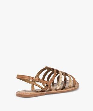 Sandales femme à talon plat et brides multiples en cuir vue4 - GEMO (CASUAL) - GEMO