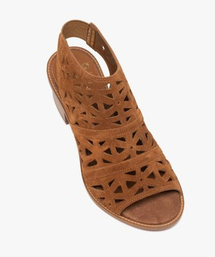 Sandales femme à talon carré et tige couvrante ajourée vue5 - GEMO(URBAIN) - GEMO