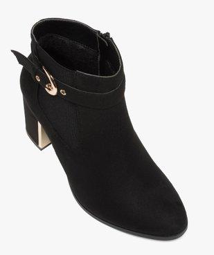 Boots femme à talon unis en suédine détails métallisés vue5 - GEMO(URBAIN) - GEMO
