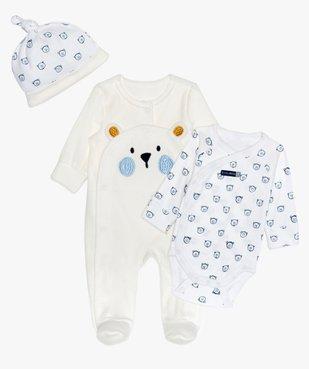 Ensemble bébé (3 pièces) pyjama velours, body et bonnet vue1 - GEMO(BB COUCHE) - GEMO