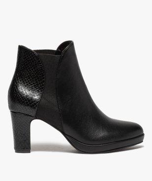 Boots femme à talon unies détails imitation serpent vue1 - GEMO(URBAIN) - GEMO
