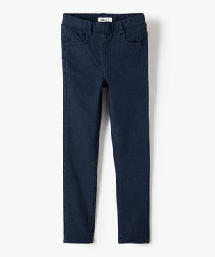 Pantalon fille skinny uni à taille élastiquée vue1 - GEMO (ENFANT) - GEMO