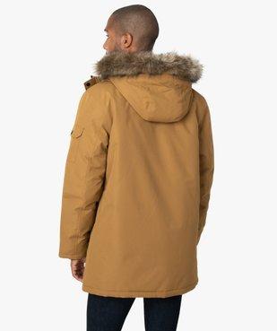 Parka homme matelassée à capuche avec bord fantaisie amovible vue3 - GEMO (HOMME) - GEMO