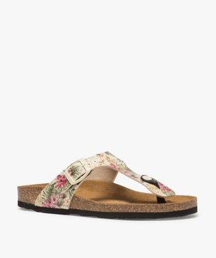 Sandales femme à entre-doigts imprimées de fleurs vue2 - GEMO (CASUAL) - GEMO