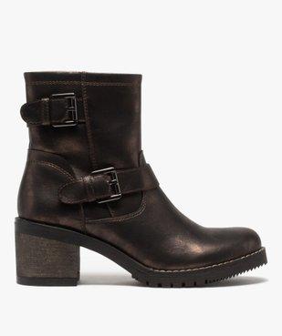 Boots femme métallisées à talon carré et semelle crantée vue1 - GEMO(URBAIN) - GEMO