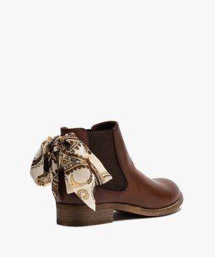 Boots femme style chelsea à talon plat et nœud foulard vue4 - GEMO (CASUAL) - GEMO