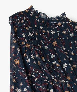 Robe fille en voile avec motifs fleuris et petits volants vue3 - Nikesneakers (ENFANT) - Nikesneakers