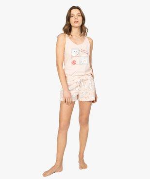 Short de pyjama femme imprimé à petits volants dans le bas motif chats all over vue5 - Nikesneakers(HOMWR FEM) - Nikesneakers
