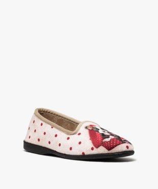 Chaussons femme slippers en velours imprimé bouledogue vue2 - GEMO(HOMWR FEM) - GEMO