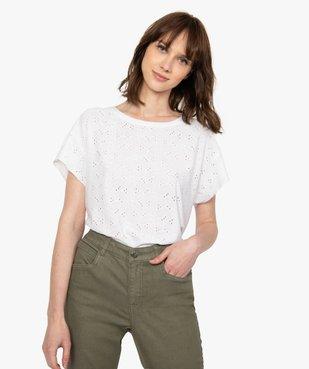 Tee-shirt femme à manches courtes façon dentelle anglaise vue1 - GEMO(FEMME PAP) - GEMO