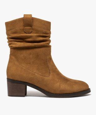 Boots femme à talon carré dessus en suédine unie vue1 - GEMO(URBAIN) - GEMO