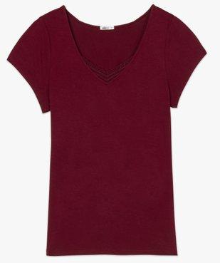 Tee-shirt de nuit femme avec col V bordé de dentelle vue4 - GEMO(HOMWR FEM) - GEMO
