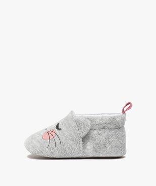 Chaussons de naissance bébé fille en velours motif chat vue3 - GEMO(BB COUCHE) - GEMO