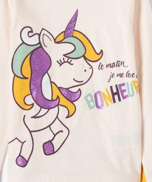 Pyjama fille avec motif licorne et paillettes vue2 - GEMO (ENFANT) - GEMO