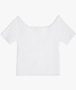 Tee-shirt court fille en smocks à manches courtes et col Bardot vue3 - GEMO (JUNIOR) - GEMO