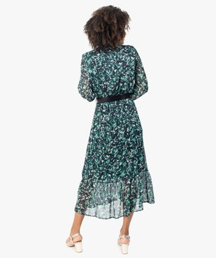 Robe femme longue en voile imprimé et grosse ceinture vue3 - GEMO(FEMME PAP) - GEMO