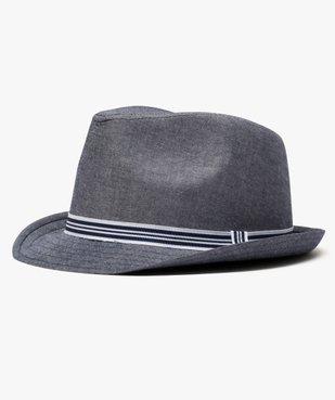 Chapeau homme trilby en chambray avec ruban rayé vue1 - GEMO (ACCESS) - GEMO