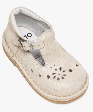 Chaussures de marche bébé fille avec dessus cuir à pailettes vue5 - GEMO(BEBE DEBT) - GEMO