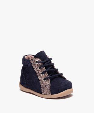 Chaussures premiers pas fille en cuir suédé et paillettes vue2 - Nikesneakers(BEBE DEBT) - Nikesneakers