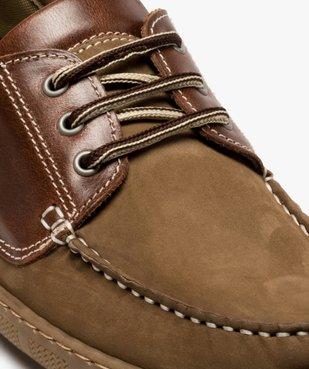 Chaussures bateau homme à lacets dessus cuir vue6 - GEMO (CONFORT) - GEMO