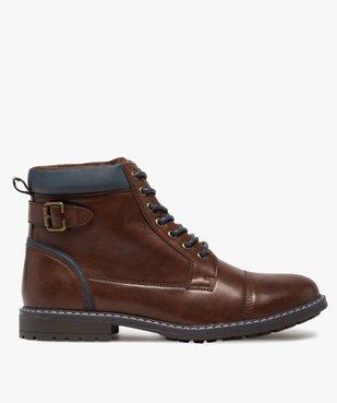 Boots homme à lacets contrastés et col rembourré vue1 - GEMO (CASUAL) - GEMO