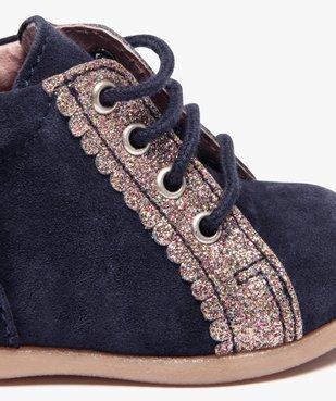 Chaussures premiers pas fille en cuir suédé et paillettes vue6 - Nikesneakers(BEBE DEBT) - Nikesneakers