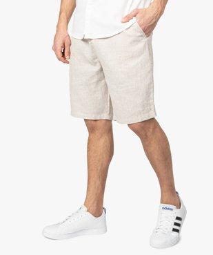 Bermuda homme en lin et coton avec ceinture cordon vue1 - Nikesneakers (HOMME) - Nikesneakers